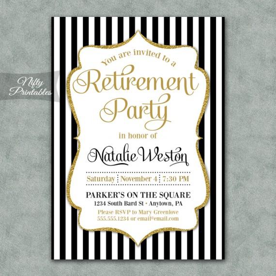 Black Gold Stripe Retirement Invitations