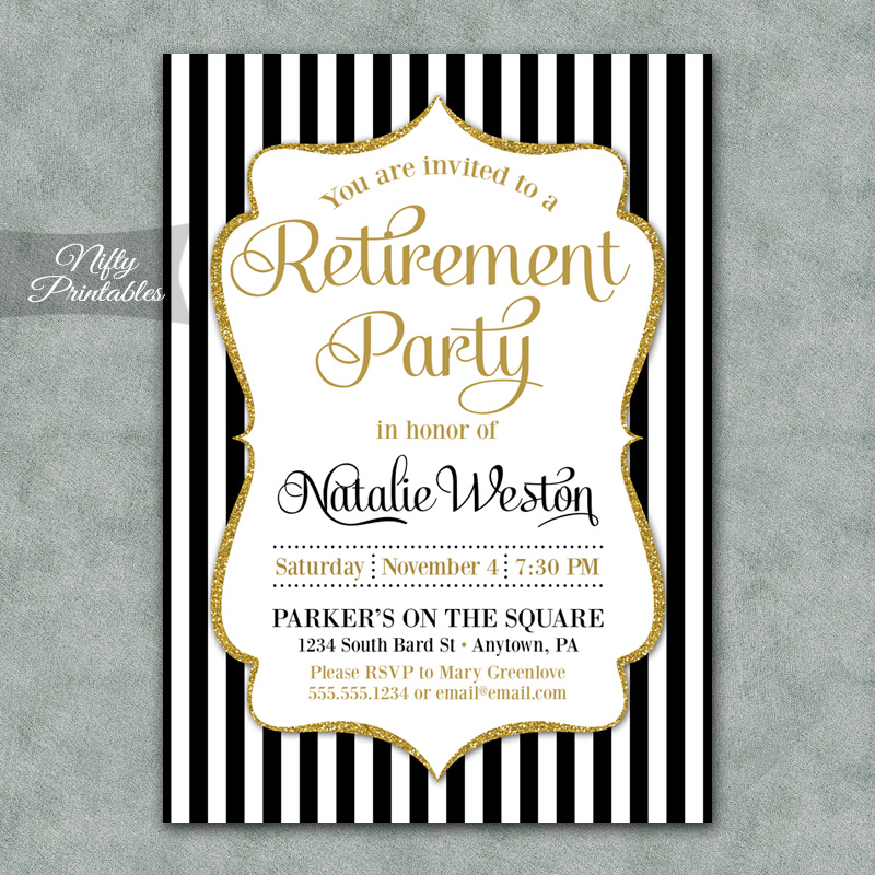 black gold stripe retirement invitations nifty printables
