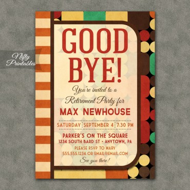 Geometric Retro Retirement Invitations