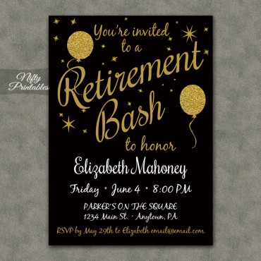 Glitter Balloons Retirement Invitations