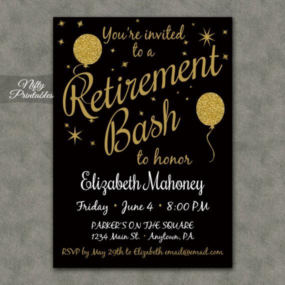 Glitter Balloons Retirement Invitations