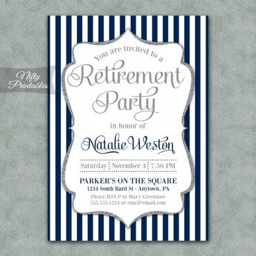 Navy Silver Stripe Retirement Invitations