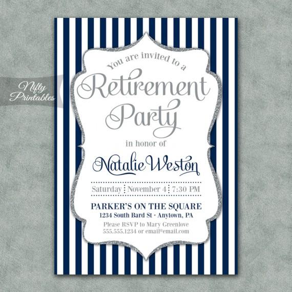 Navy Silver Stripe Retirement Invitations
