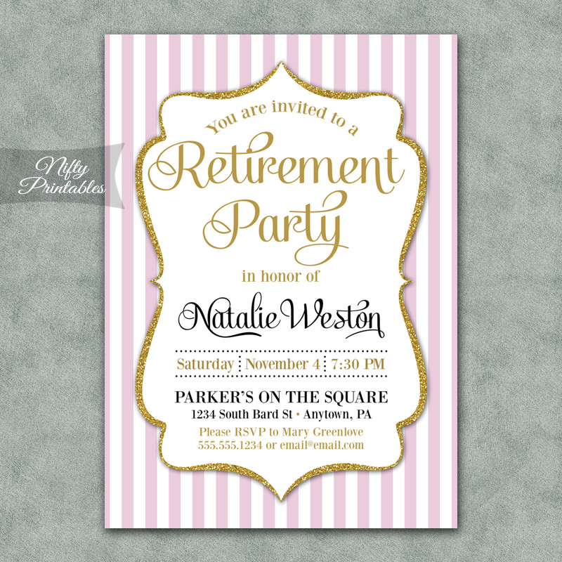 Pink Gold Stripe Retirement Invitations