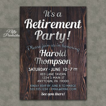 Wood Silver Retirement Invitations