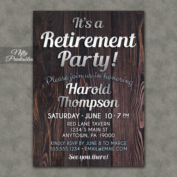 Wood Silver Retirement Invitations