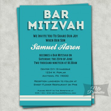 Turquoise Retro Bar Mitzvah Invitations