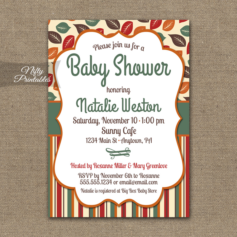Fall Leaves Baby Shower Invitations