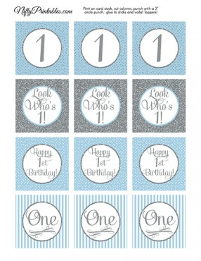 1st Birthday Cupcake Toppers - Blue Silver
