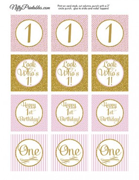 1st Birthday Cupcake Toppers - Pink Gold
