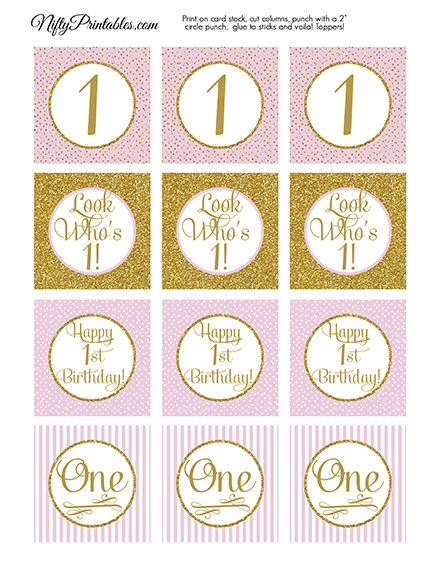 Printable 1st Birthday Cupcake Toppers Pink Gold