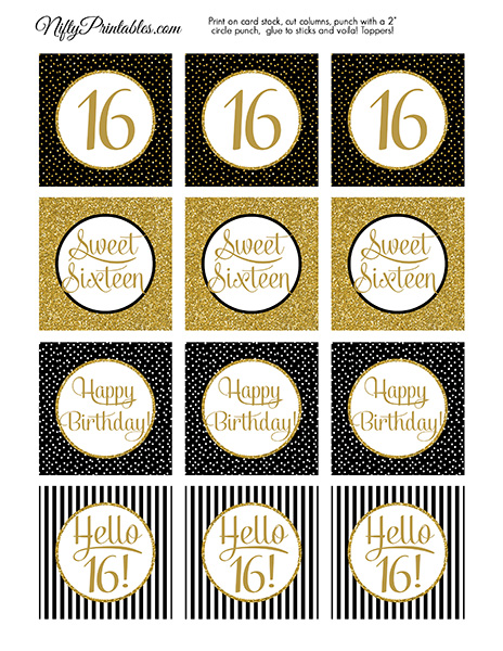 16 Sweet Sixteen Birthday Cupcake Toppers - Black Gold