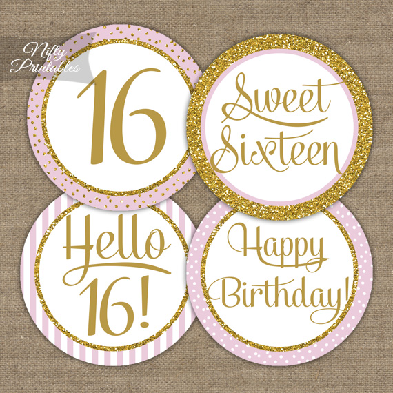 16 Sweet Sixteen Birthday Cupcake Toppers - Pink Gold