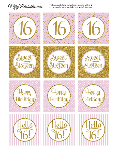 Printable sweet 16 birthday cupcake toppers pink gold 16 sweet sixteen birthday cupcake toppers pink gold filmwisefo