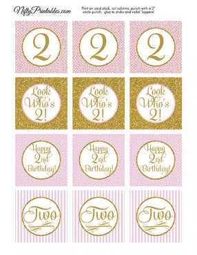 2nd Birthday Cupcake Toppers - Pink Gold