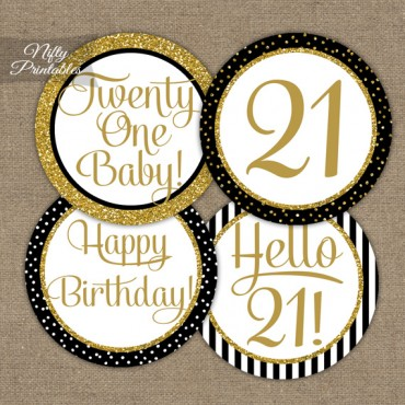 21st Birthday Cupcake Toppers - Black Gold
