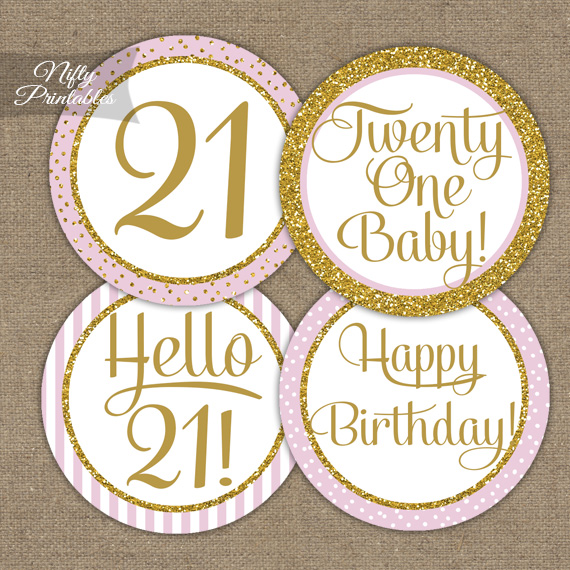 Printable 21st Birthday Cupcake Toppers Pink Gold