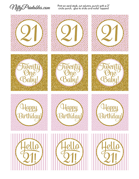 21st Birthday Cupcake Toppers - Pink Gold