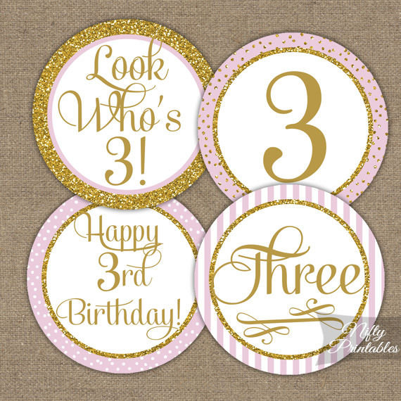 3rd Birthday Cupcake Toppers - Pink Gold