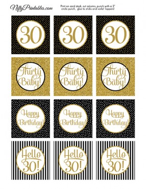 30th Birthday Cupcake Toppers - Black Gold