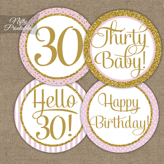 30th Birthday Cupcake Toppers - Pink Gold