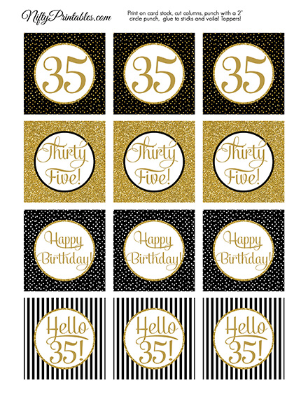 35th Birthday Cupcake Toppers - Black Gold