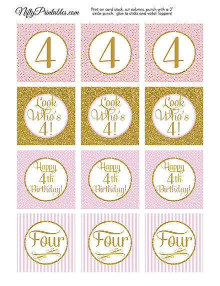 4th Birthday Cupcake Toppers - Pink Gold
