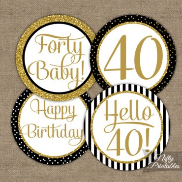 40th Birthday Cupcake Toppers - Black Gold
