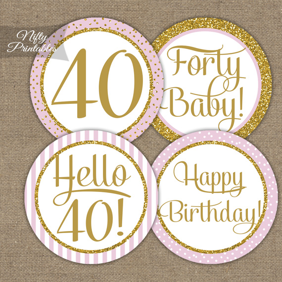 40th Birthday Cupcake Toppers - Pink Gold