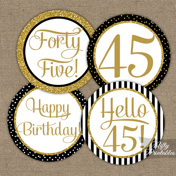 45th Birthday Cupcake Toppers - Black Gold