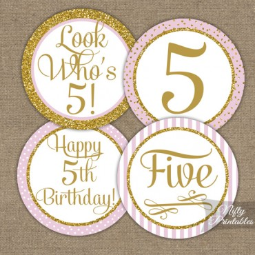 5th Birthday Cupcake Toppers - Pink Gold