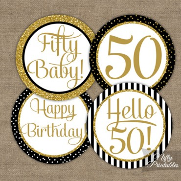 50th Birthday Cupcake Toppers - Black Gold