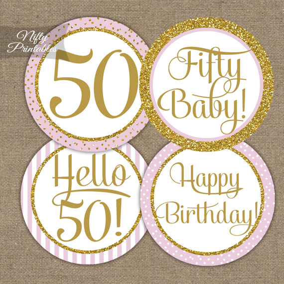 Printable 50th Birthday Cupcake Toppers Pink Gold