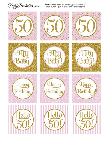 50th Birthday Cupcake Toppers - Pink Gold