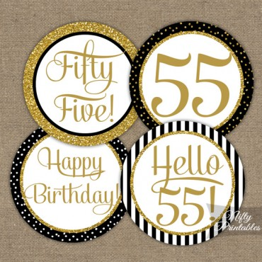 55th Birthday Cupcake Toppers - Black Gold