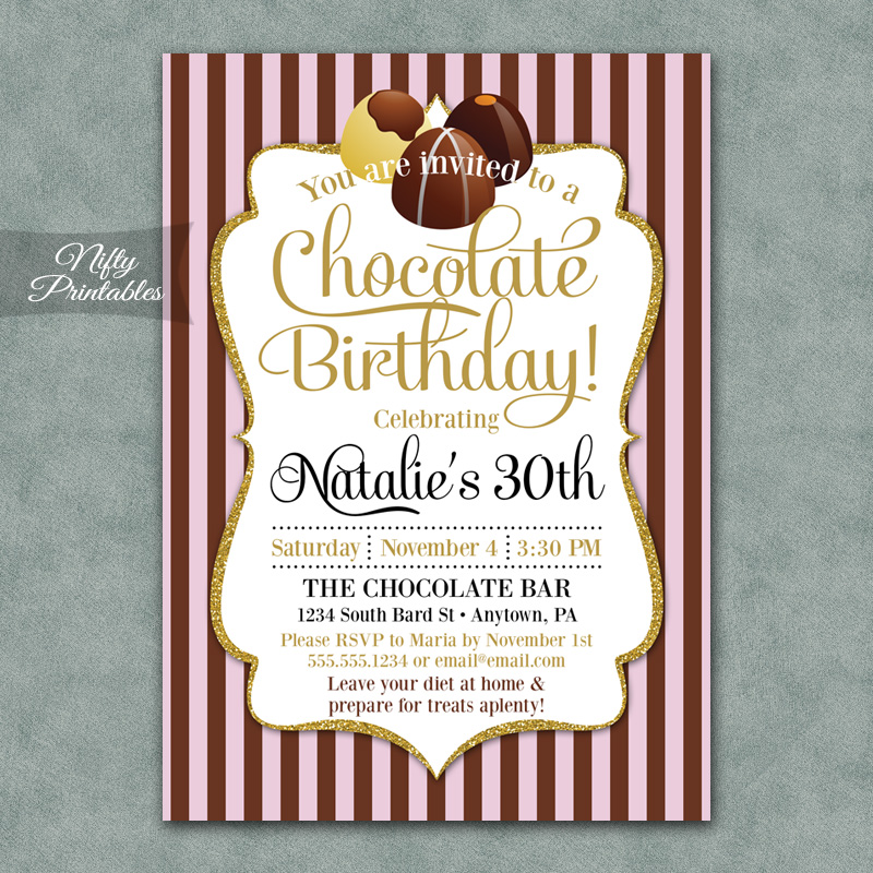 Chocolate Party Birthday Invitations