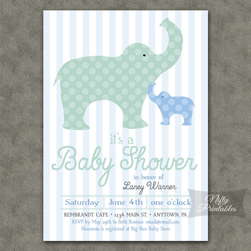 Elephants Boy Baby Shower Invitations - Blue