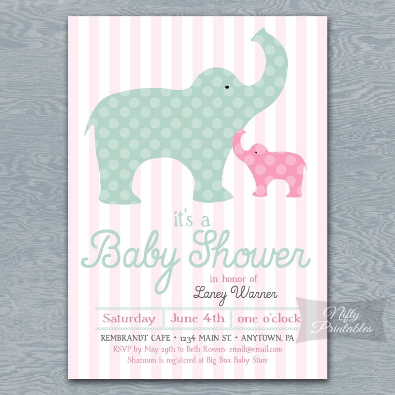 Pink Elephants Girl Baby Shower Invitations
