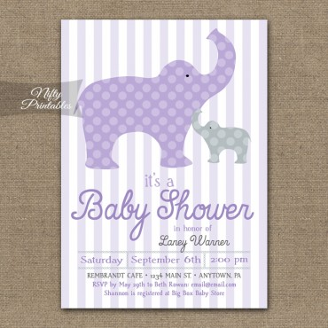 Purple Elephants Neutral Baby Shower Invitations
