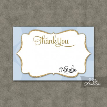 Blue Dots Personalized Flat Thank You Cards