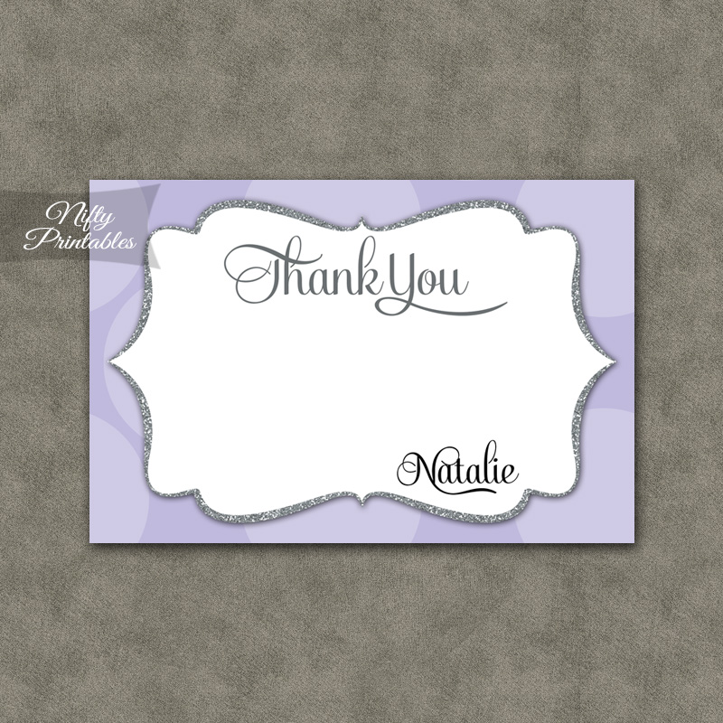 Lilac Dots Personalized Flat Thank You Cards