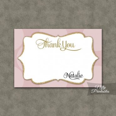 Pink Dots Personalized Flat Thank You Cards
