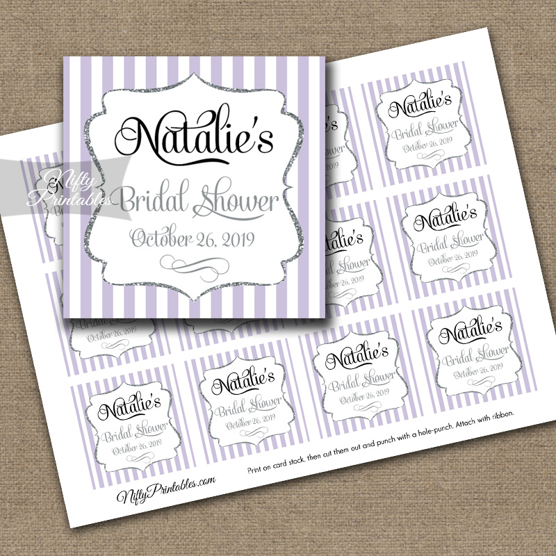 Lilac Favor Tags - Lavender Silver Personalized