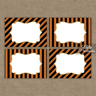 Halloween Orange Black Blank Labels Nametags
