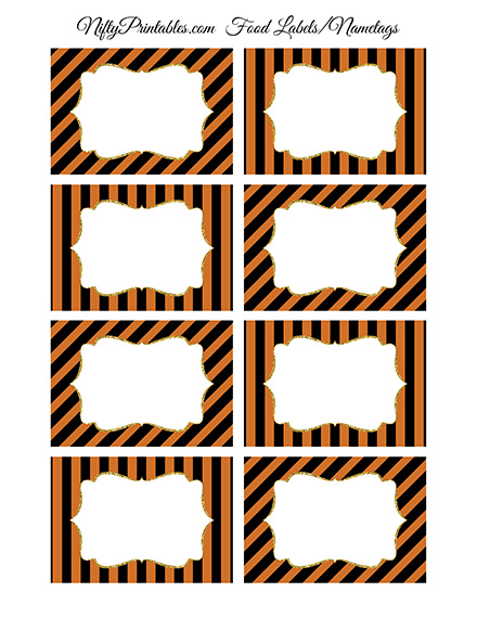 halloween orange black blank labels nametags nifty printables