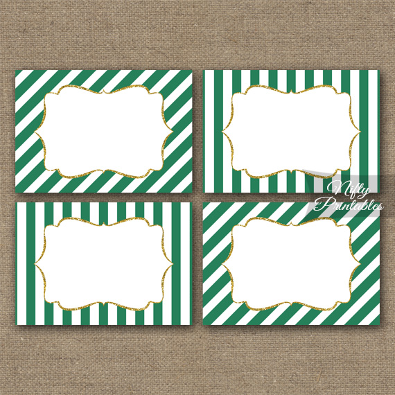 Green Gold Blank Labels Nametags