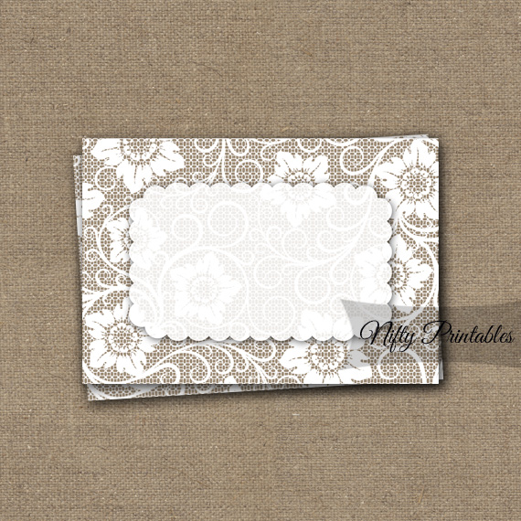 White Lace Blank Labels Nametags