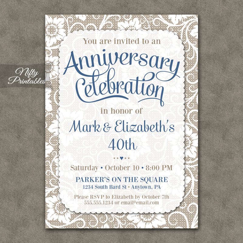White Lace Anniversary Invitations