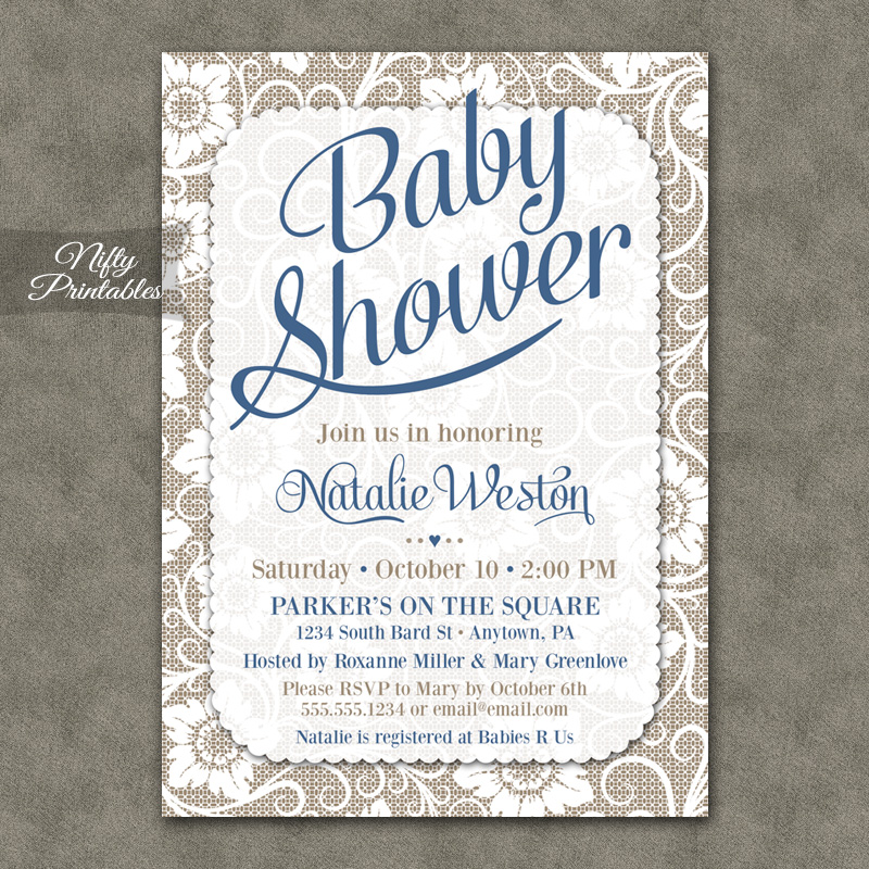 Blue On White Lace Boy Baby Shower Invitations