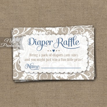 Lace Diaper Raffle Boy Baby Shower - Blue